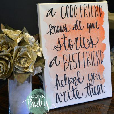 best friend bridesmaid gift canvas