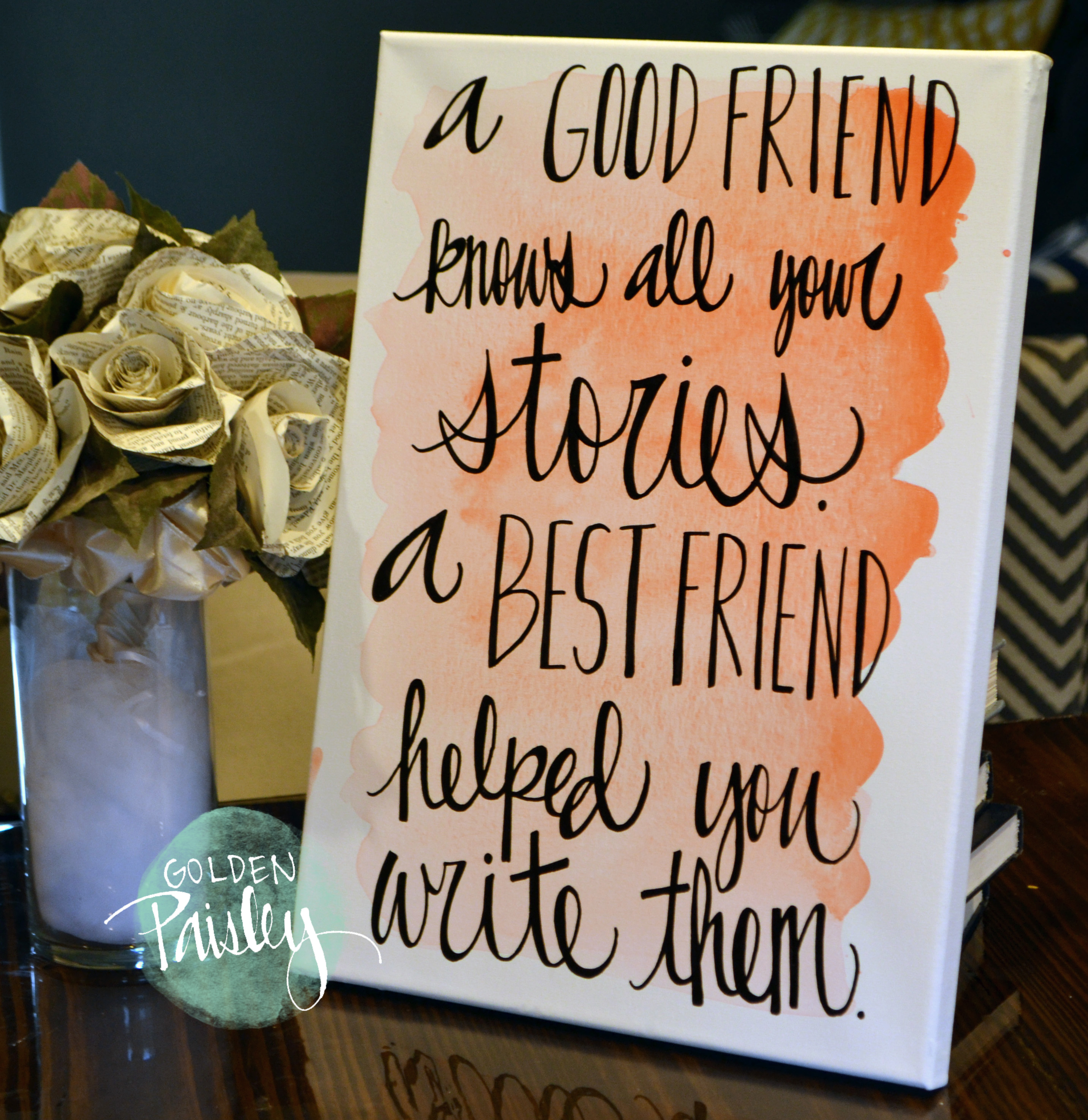 """Best Birthday Quotes For Friend In English: Watercolor Quote Art Bridesmaid Gift """"A Best Friend"""""""