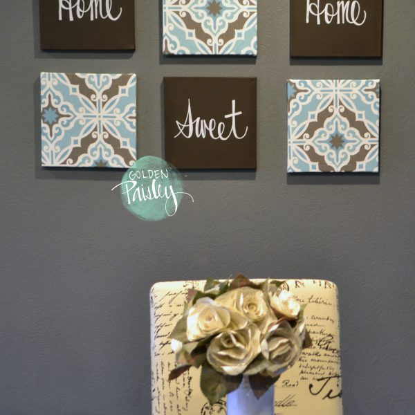 Blue and Dark Brown Eat Drink Be Merry 6 Piece Wall Art