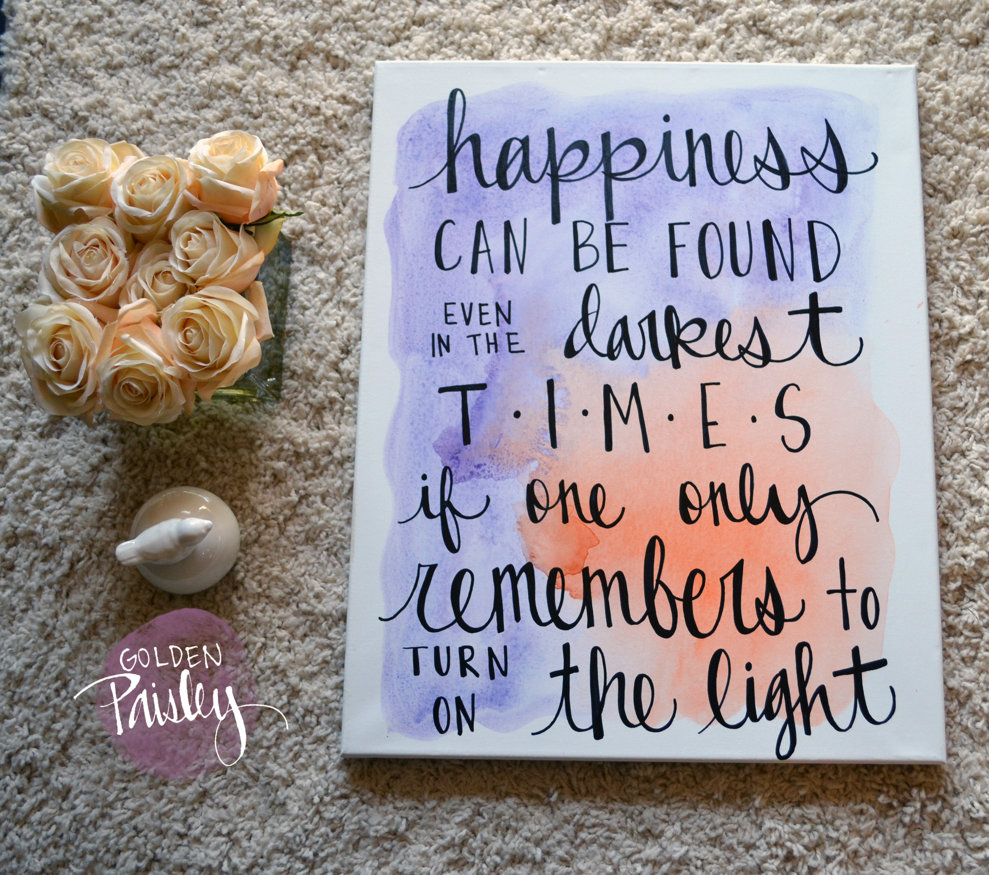 Inspirational watercolor quote wall art the light for Good quotes to paint on my wall