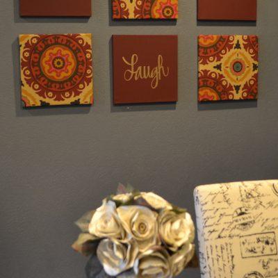 burgundy solar flair 6 piece wall art