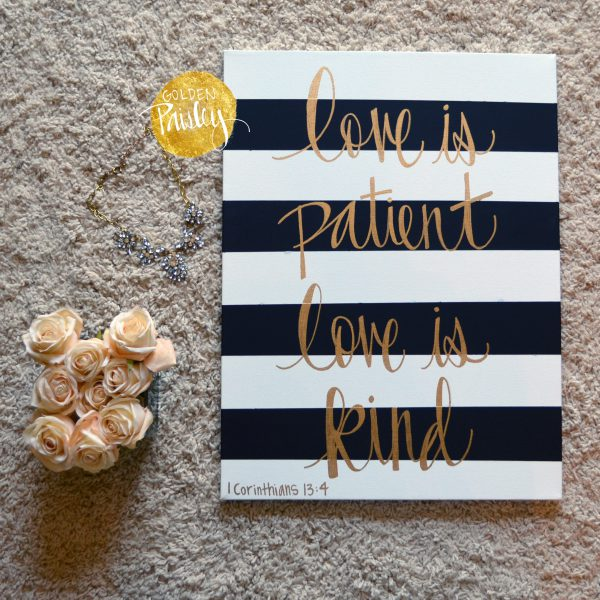 striped gold quote art