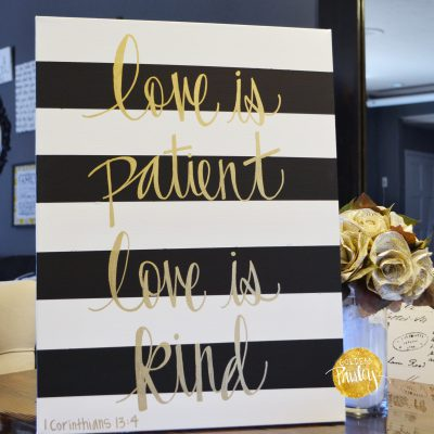 striped bible verse painting