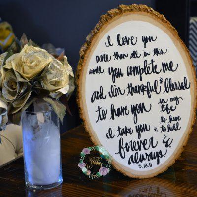wood slice wedding vow art