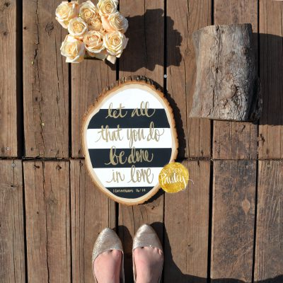 striped bible verse wood slice