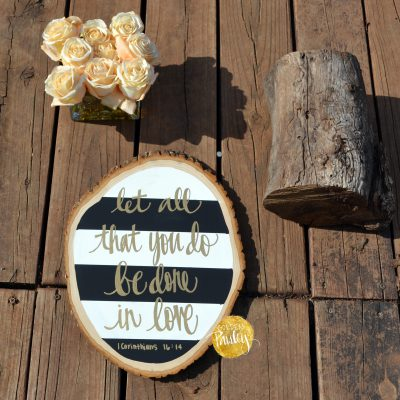 bible verse wood slice painting