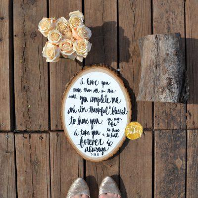 custom wedding vows on wood