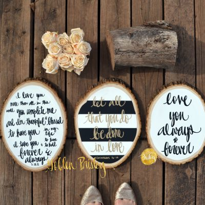wood slice paintings quote