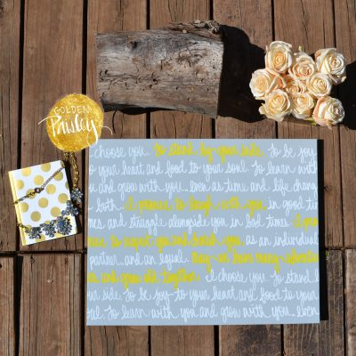 yellow and gray wedding vows