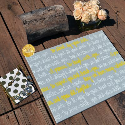 wedding vows on canvas yellow and gray