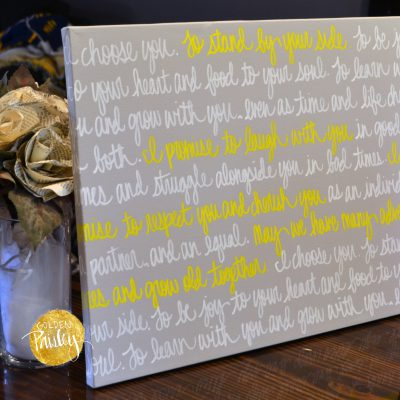 yellow and gray wedding vow canvas