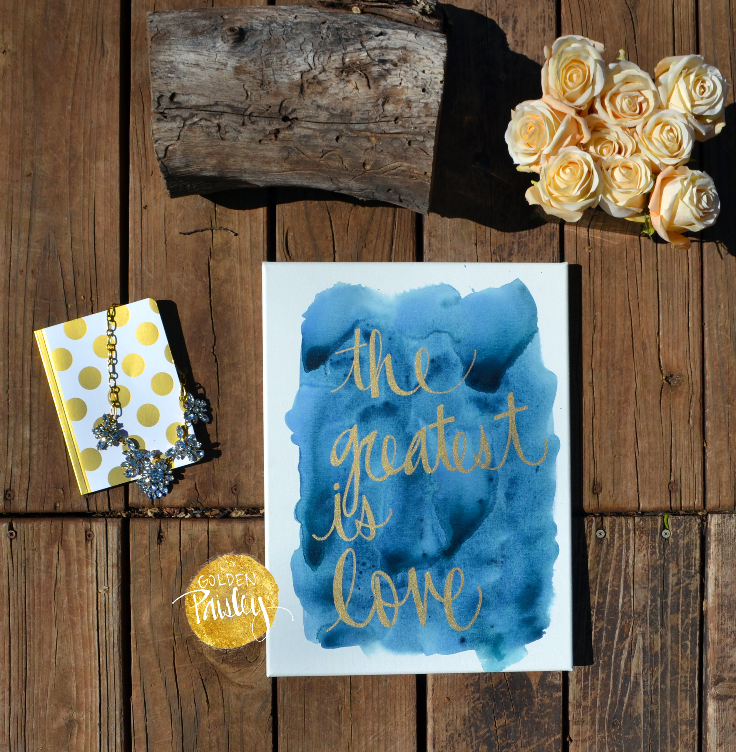 Navy And Gold Watercolor Canvas Painting The Greatest Is