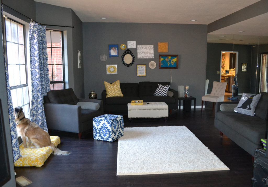 modern gray living room gallery wall