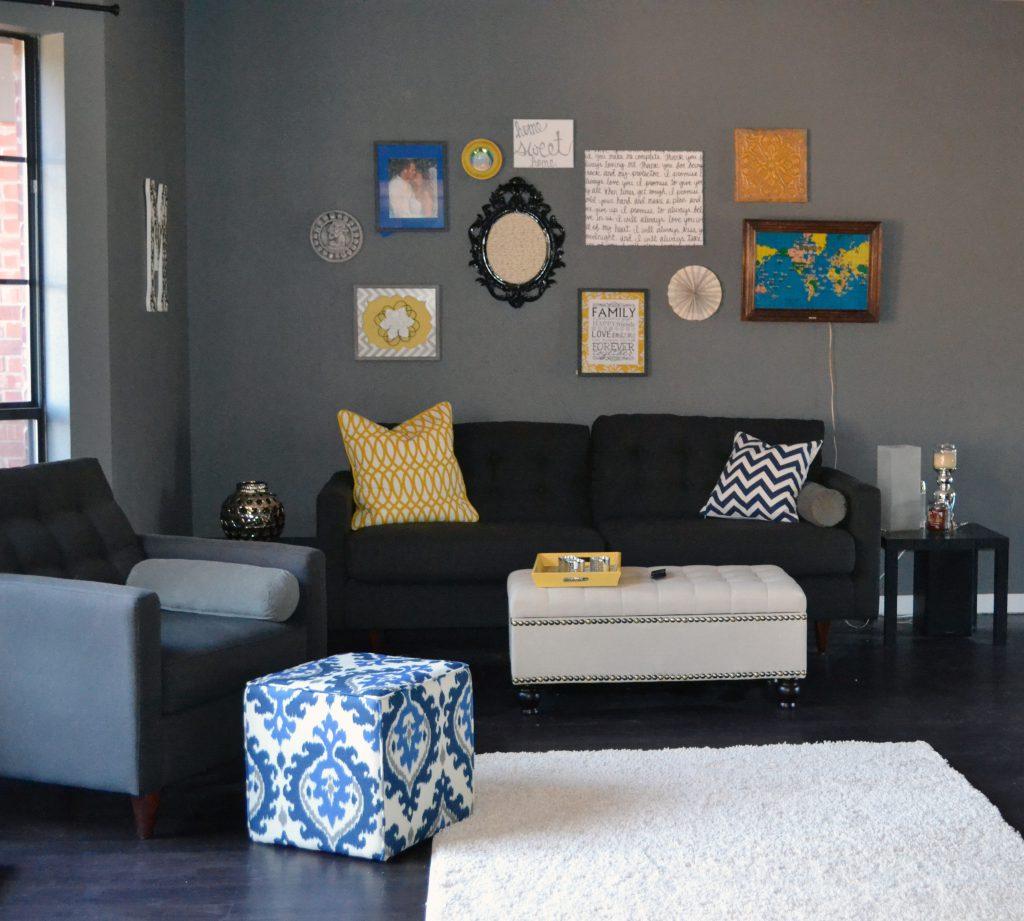 modern gray living room sofa