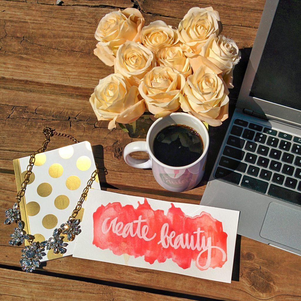 create beauty flatlay vignette