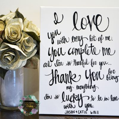 hand lettered wedding vow art
