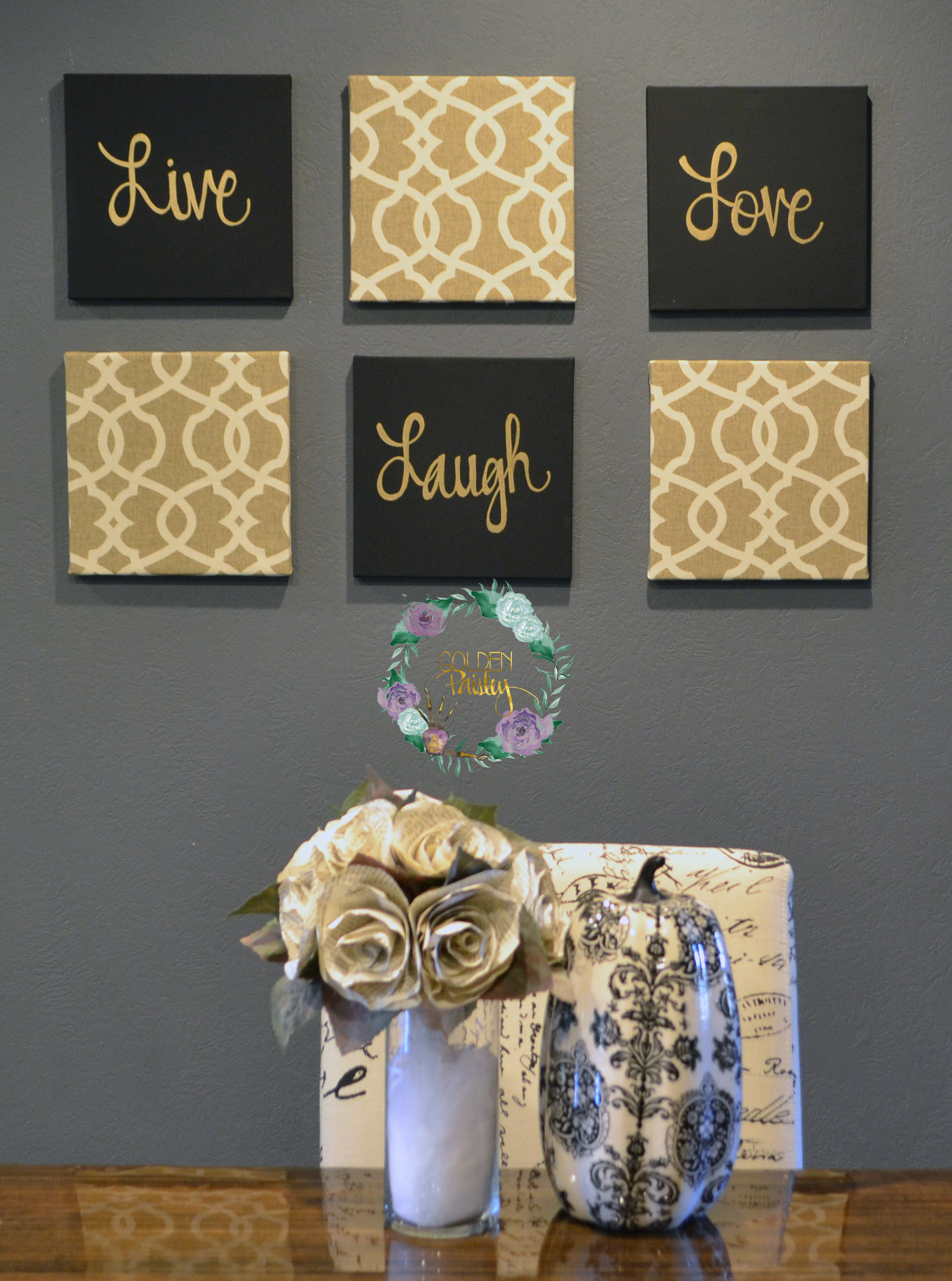Wall Art Decor Gold : Black and gold eat drink be merry chic wall art set