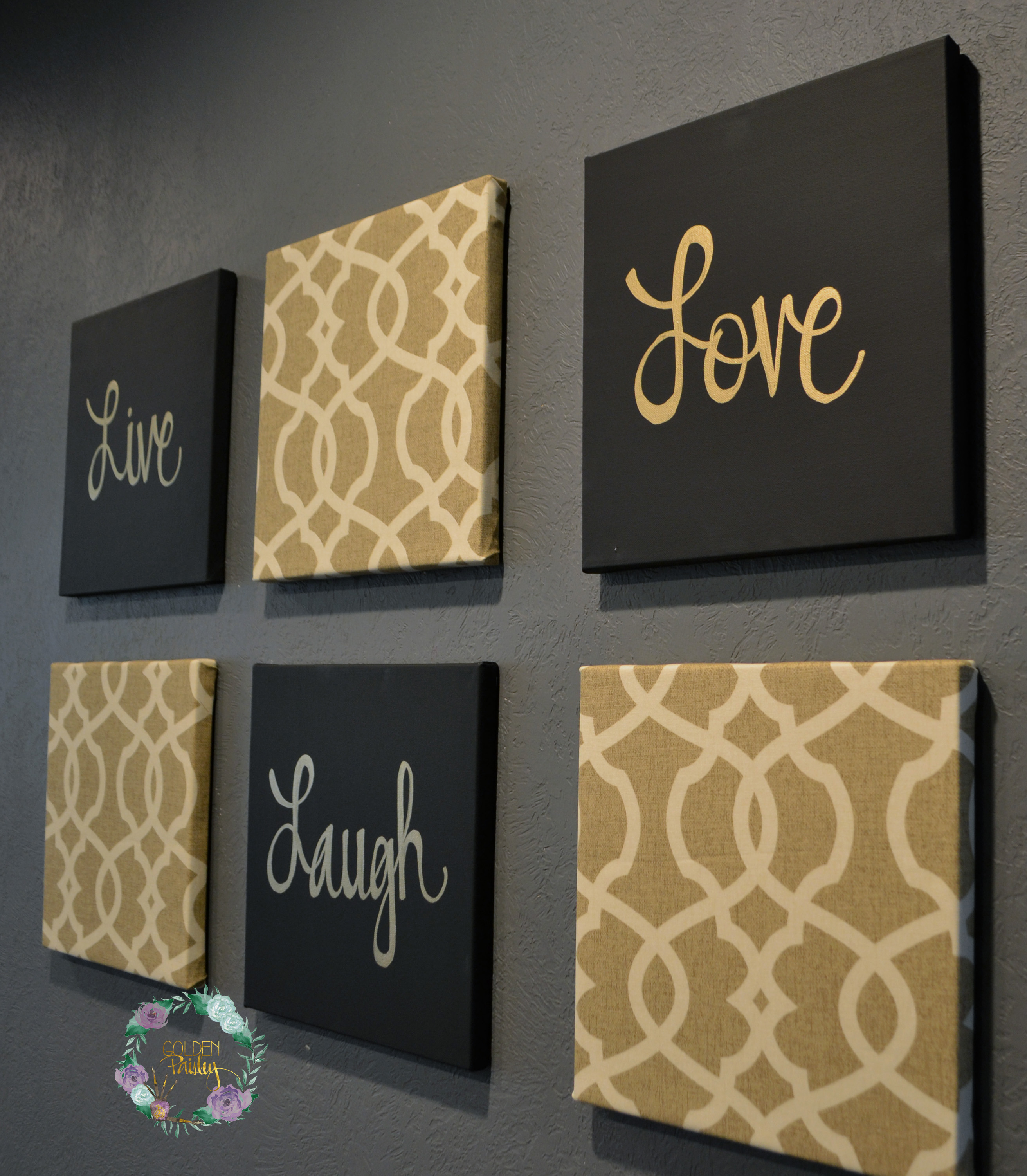 Black and gold eat drink be merry chic wall art set for Blank canvas designs wall art