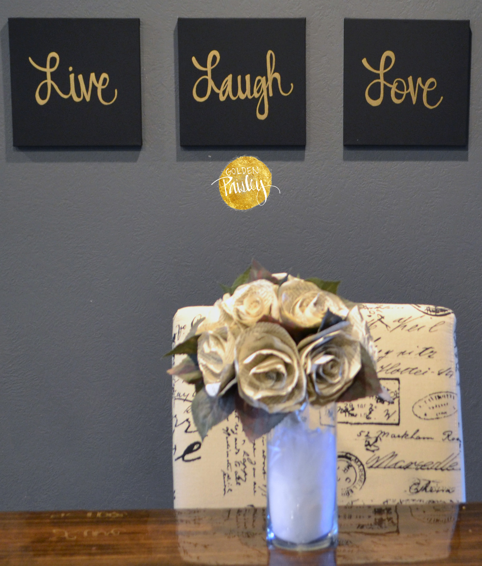 Live laugh love black gold 3 piece wall decor set for Live laugh love wall art