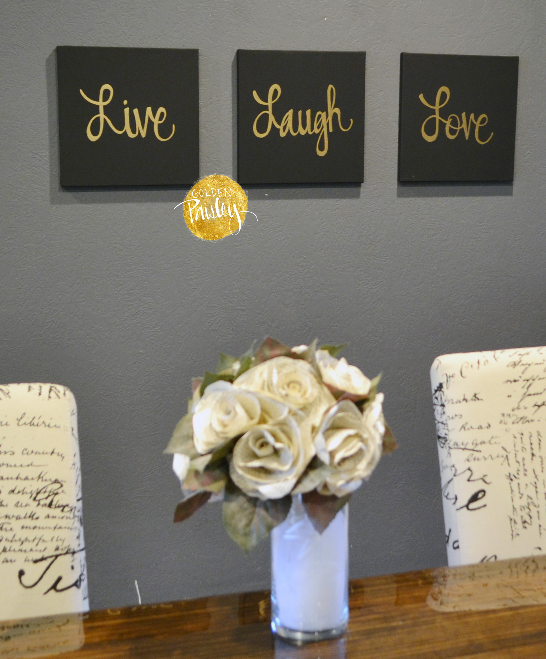 Black And Gold Quote Art Live Laugh Love Home Decor