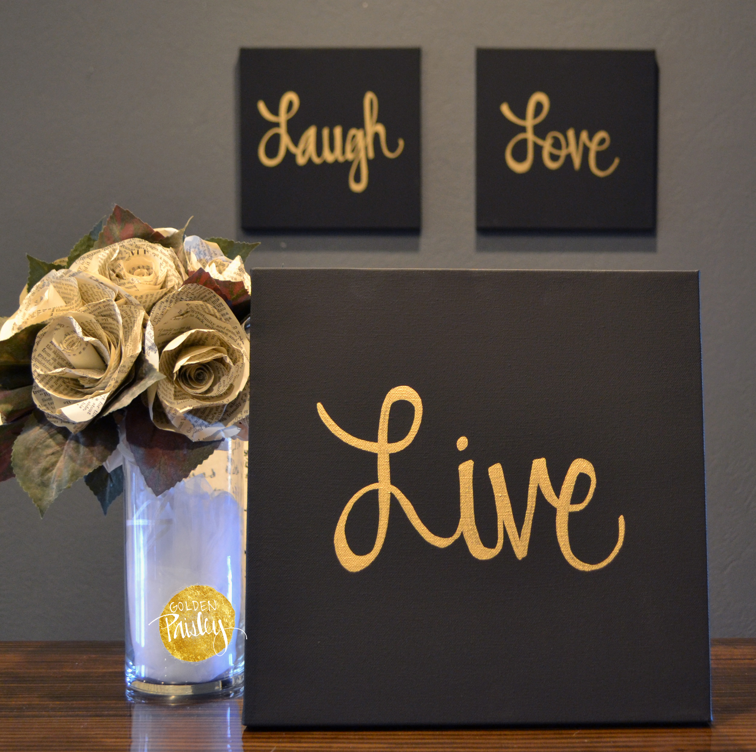 Live laugh love black gold piece wall decor set