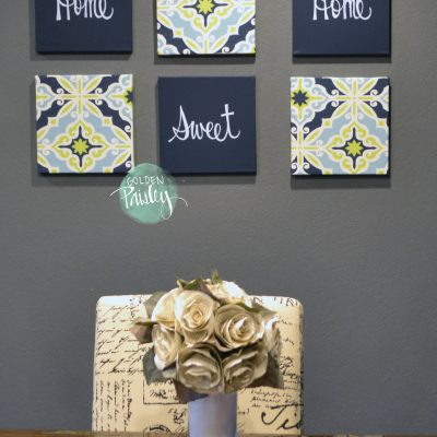 lime and navy wall decor