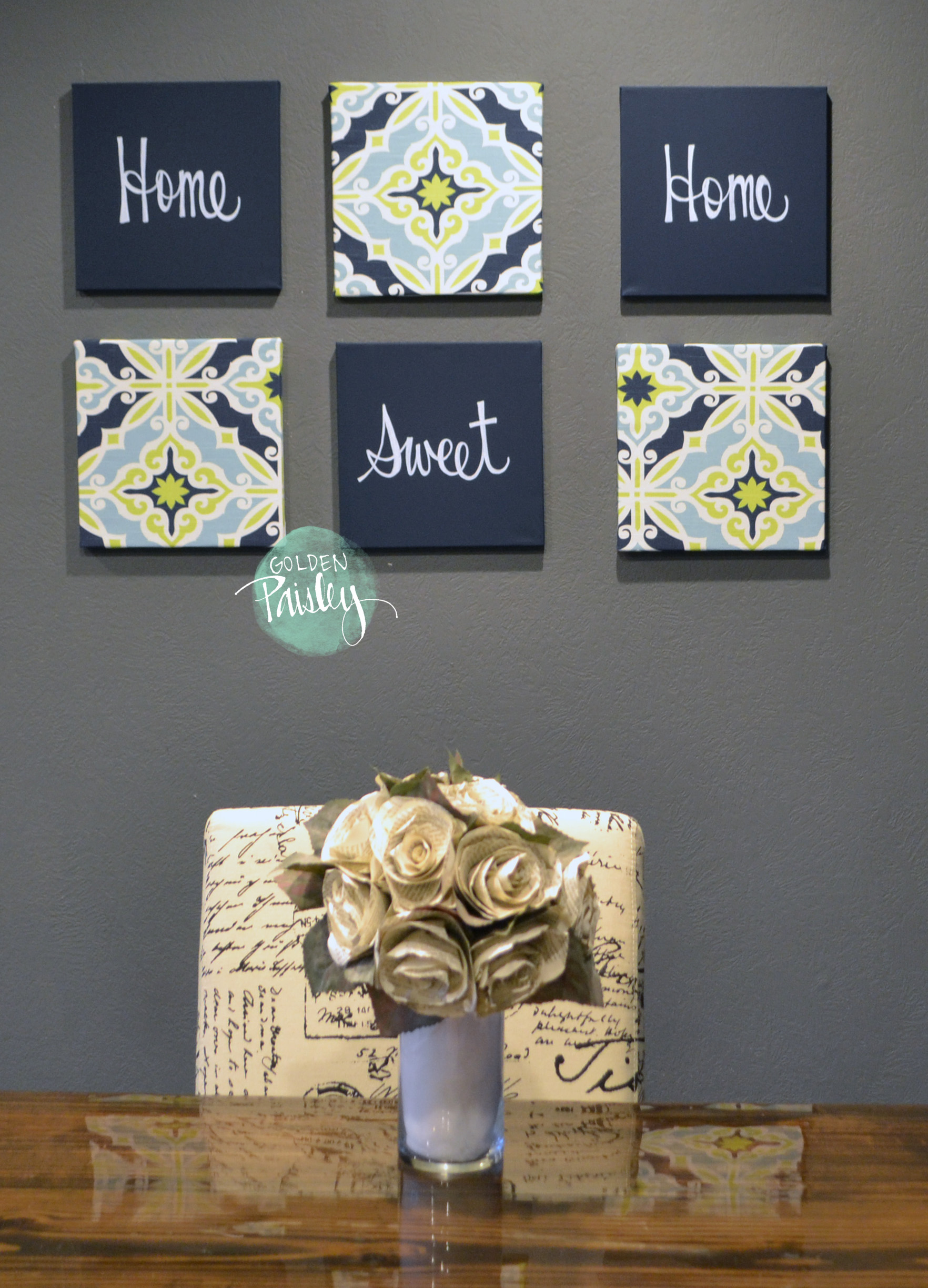 Navy Wall Decor navy and lime eat drink be merry chic wall decor art set