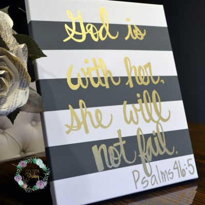 striped bible verse painting god is with her