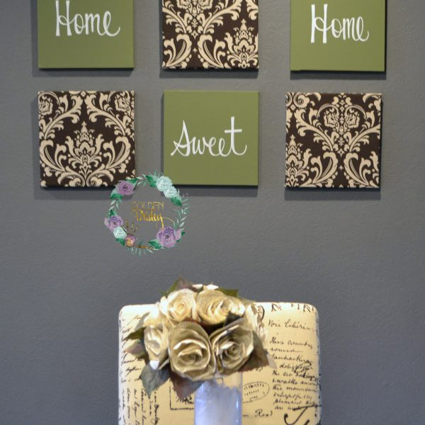 olive green brown wall art set