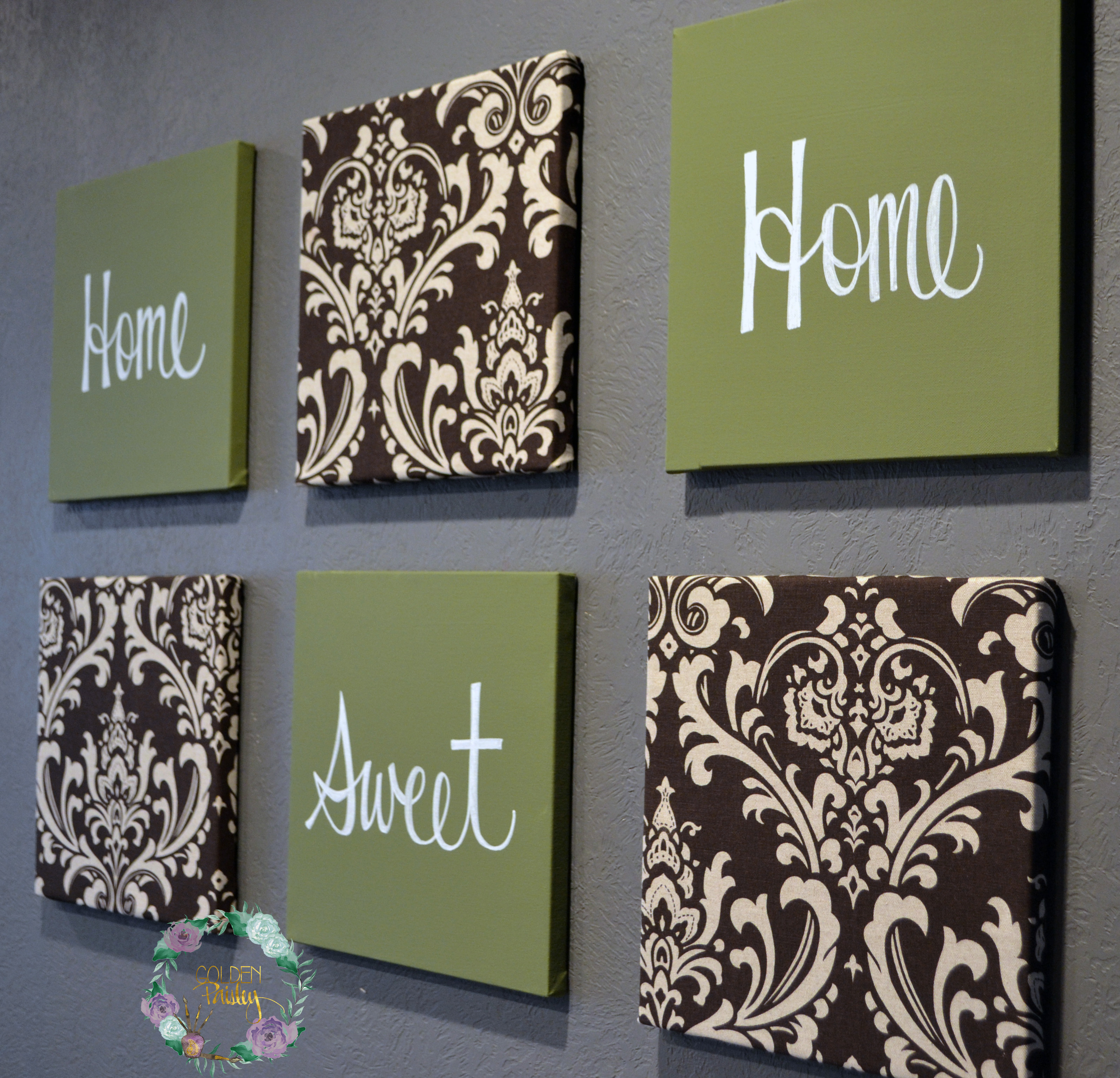 olive green and brown damask home sweet home wall decor set home sweet home wood blocks wood sign home decor fireplace