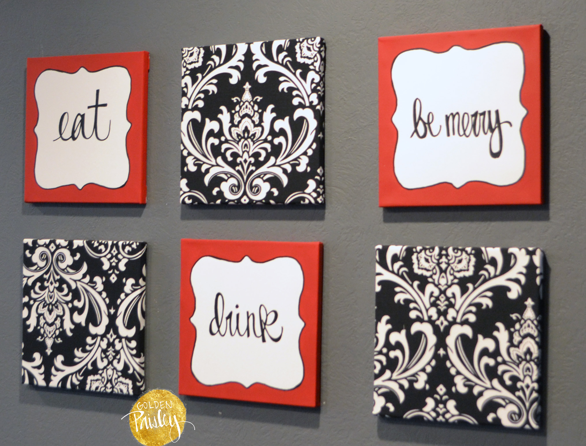 Red and black damask eat drink be merry chef wall decor set - Red and white kitchen decor ...