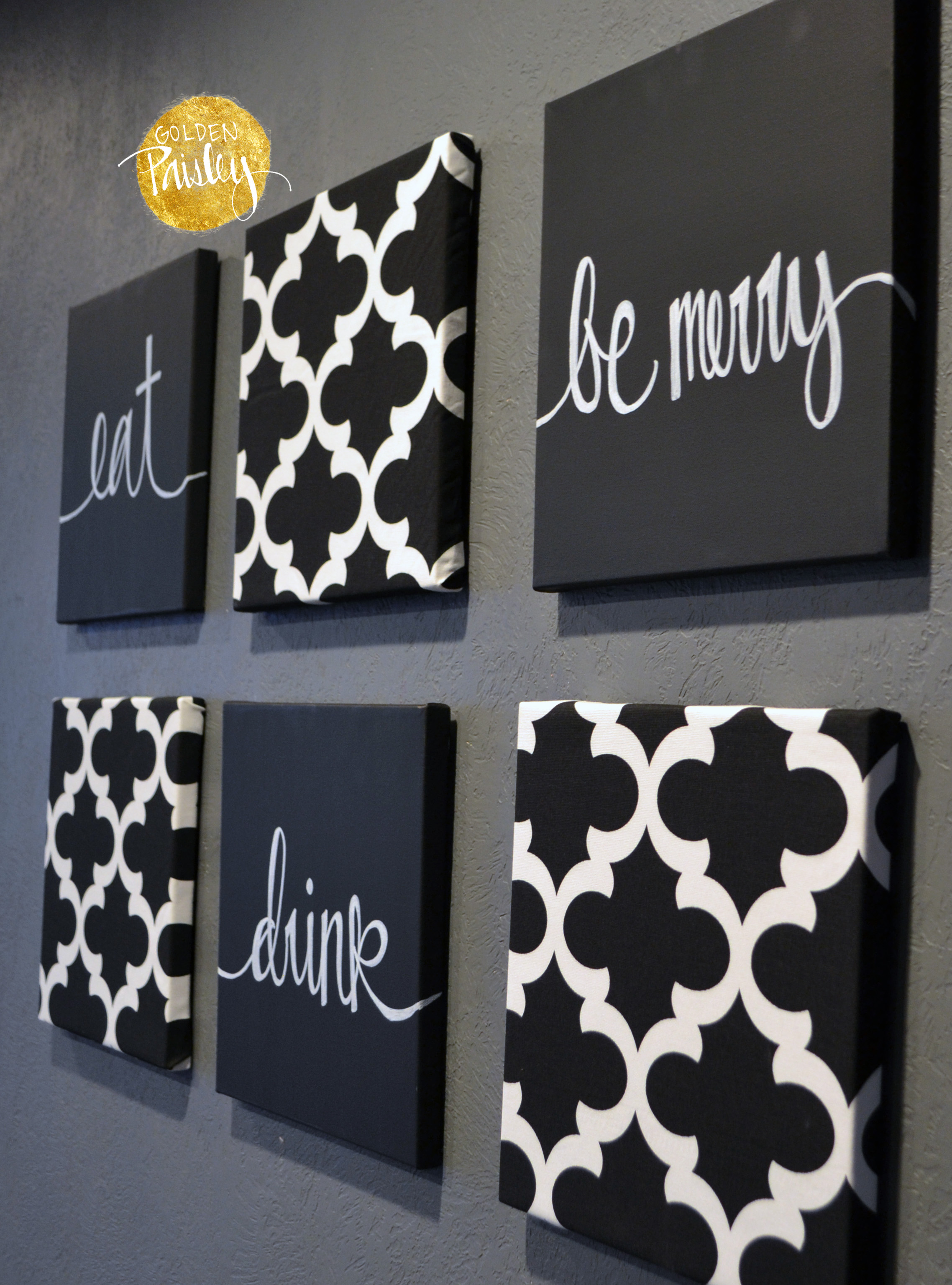eat drink be merry wall art set eat drink be merry wall decor ... & Black and White Moroccan 6 Pack Wall Art