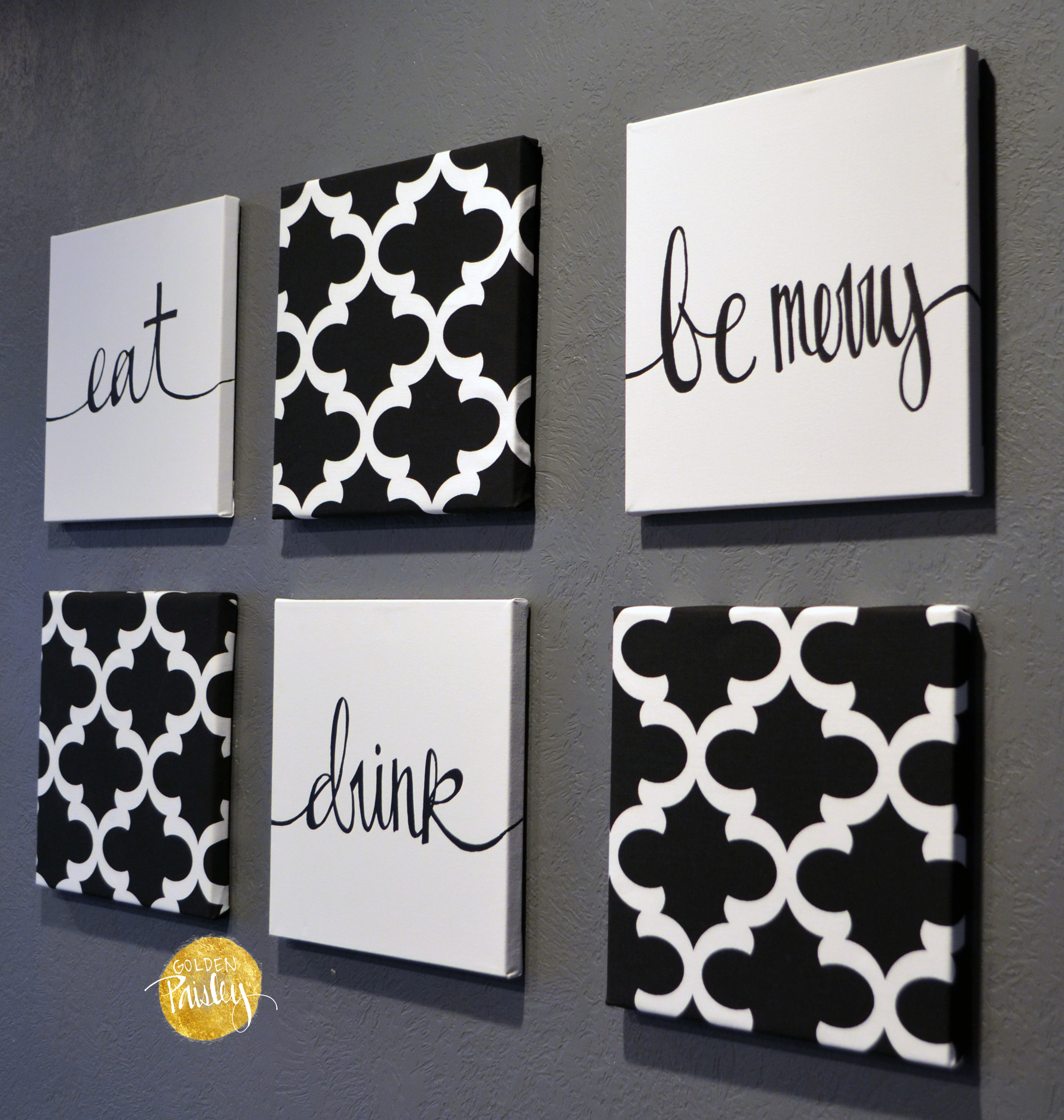 Black and white moroccan 6 pack wall art - Wall paintings for home decoration ...
