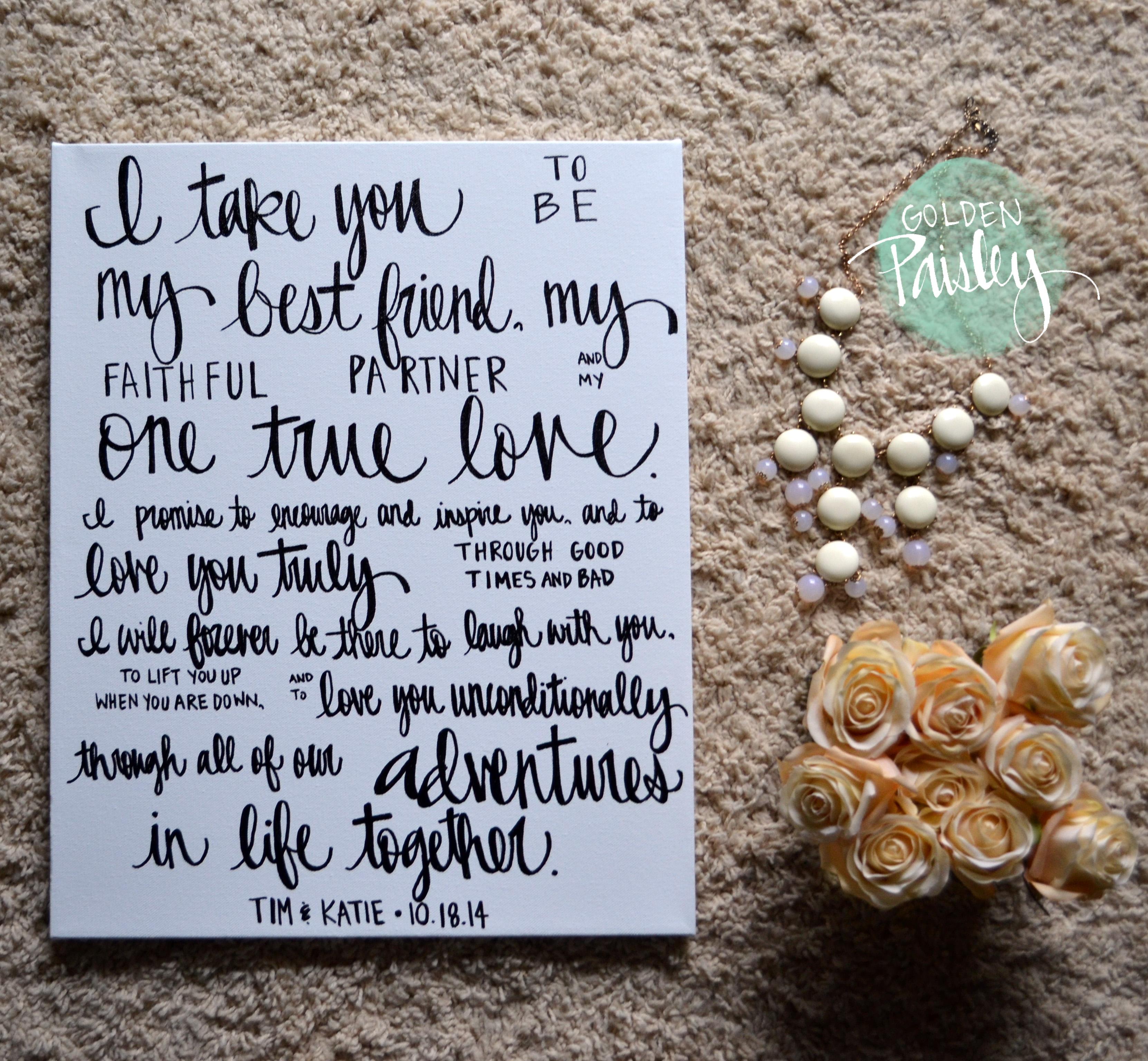Hand Lettering Canvas Art Wedding Decoration
