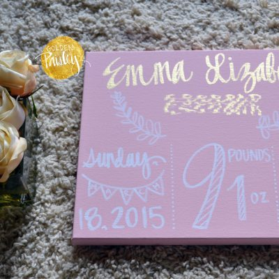 birth announcement canvas