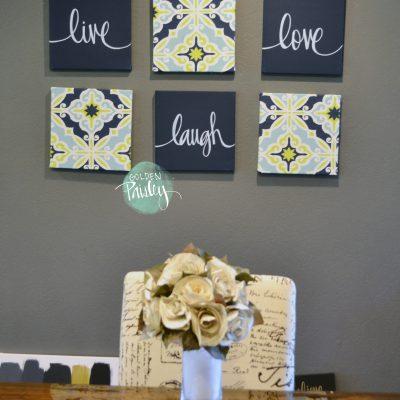 navy lime wall decor set