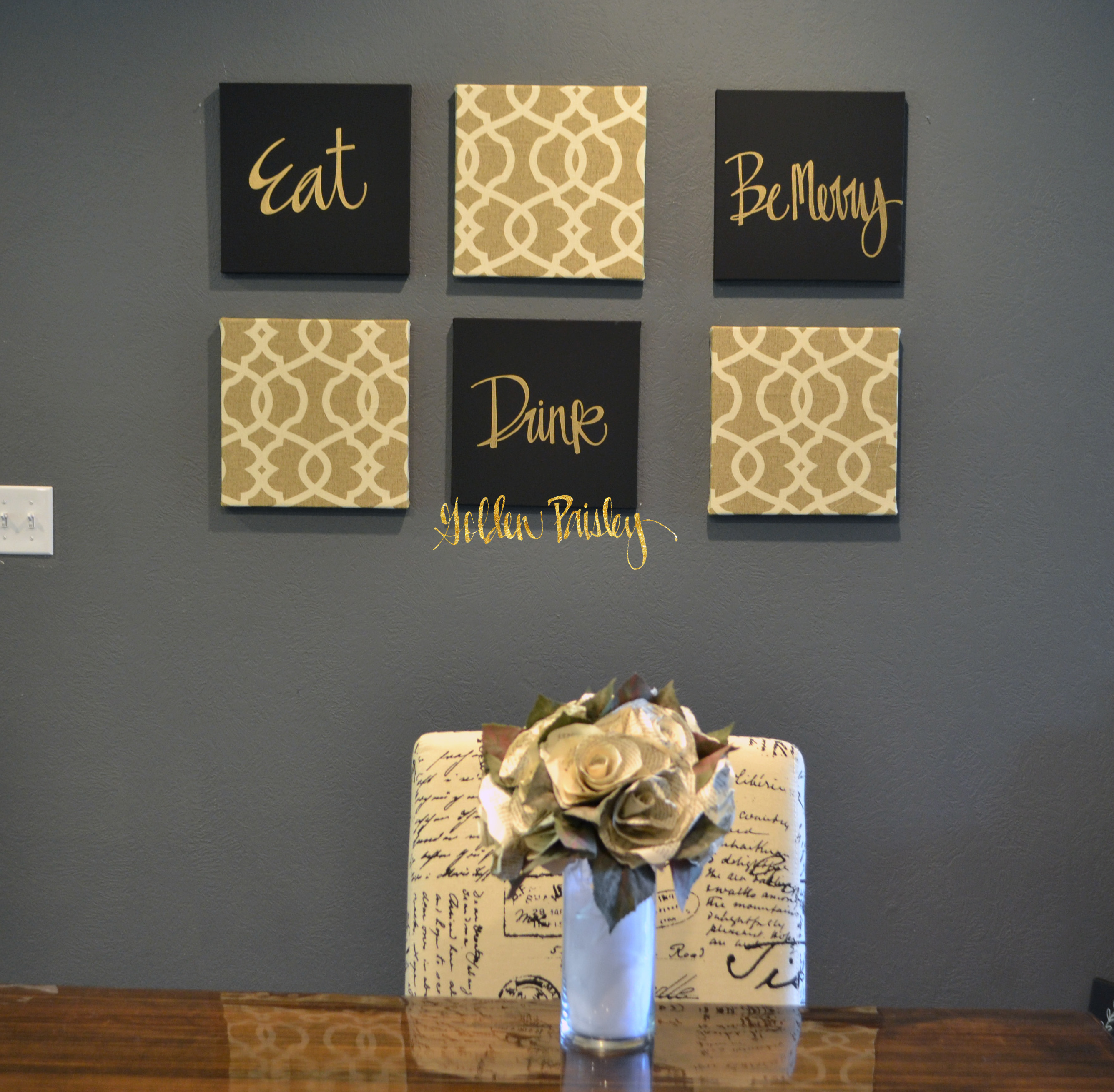 Black and gold eat drink be merry chic wall art set for Gold wall art
