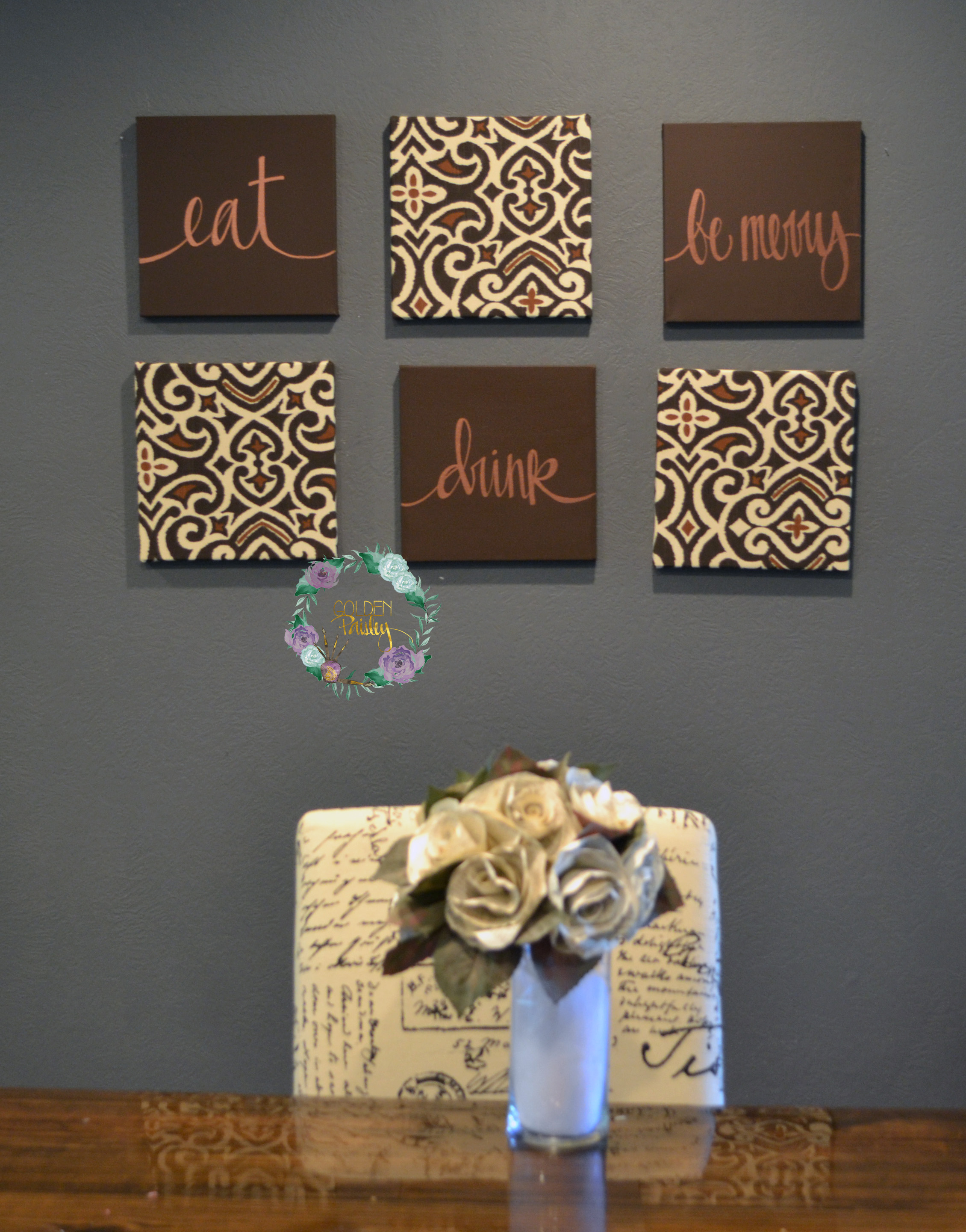 Wall Decor Sets dark brown designer damask wall art set