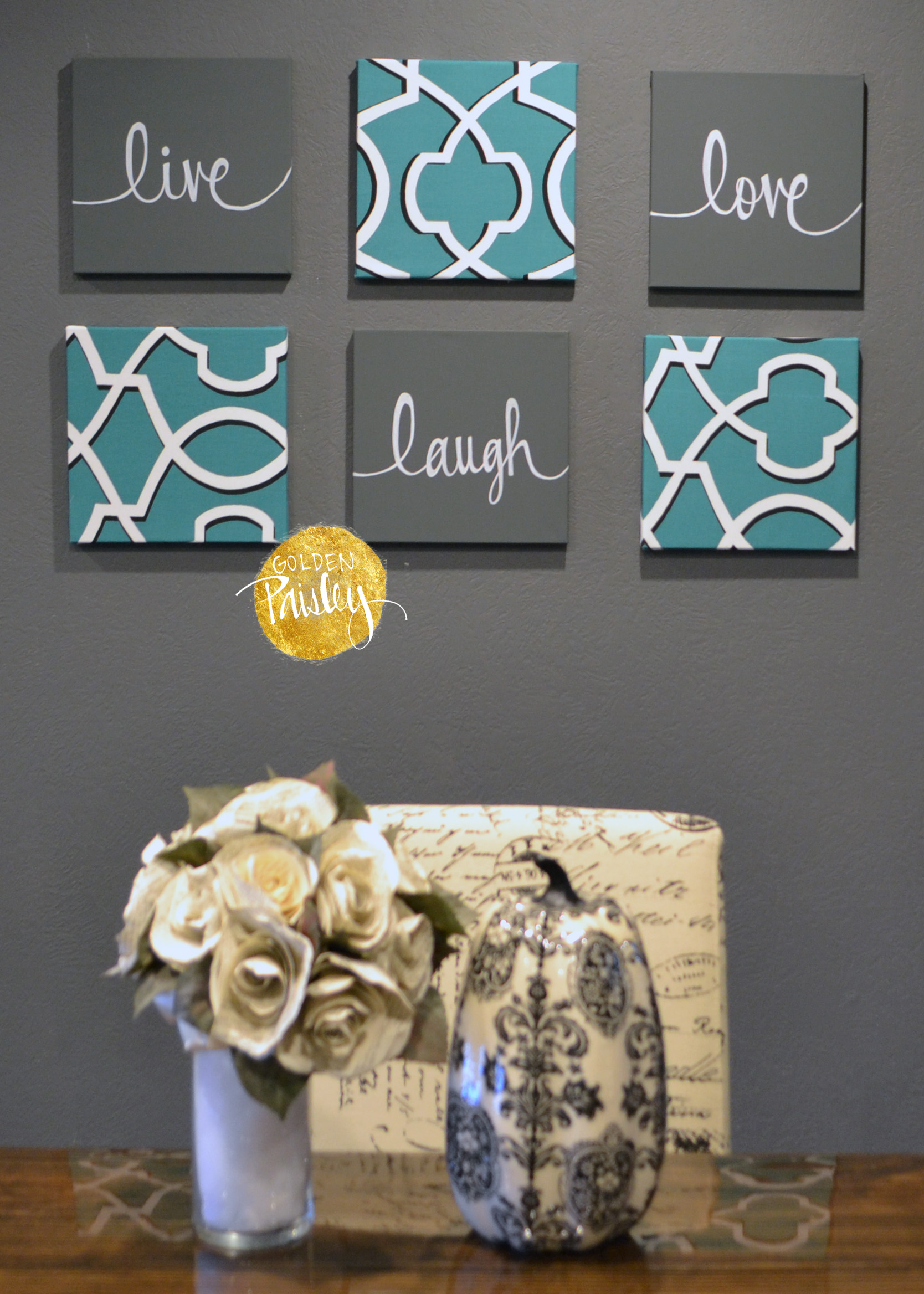 Teal Charcoal Gray 6 Piece Wall Art Set