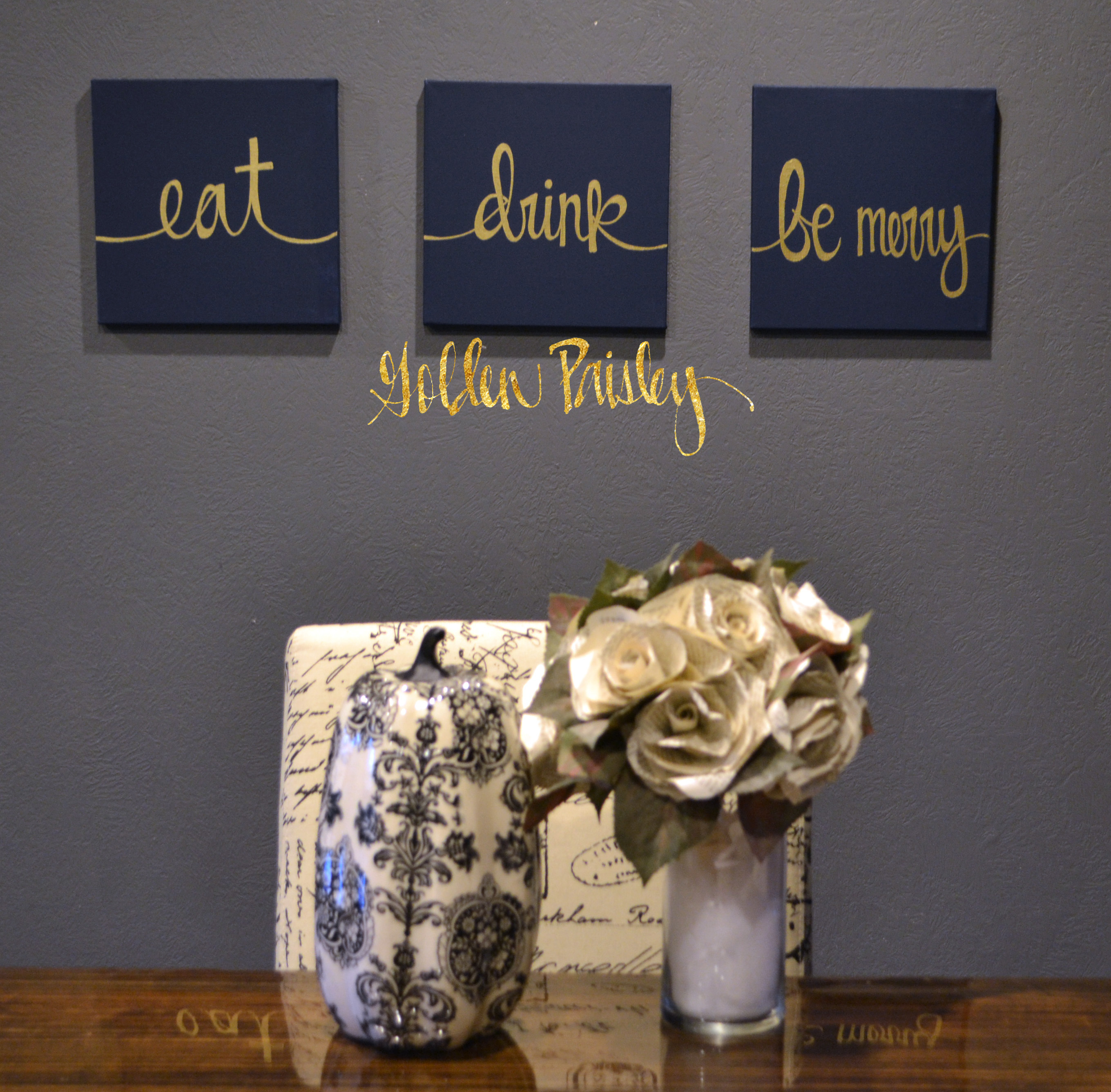 Eat Wall Decor eat drink be merry navy & gold 3 piece wall decor set