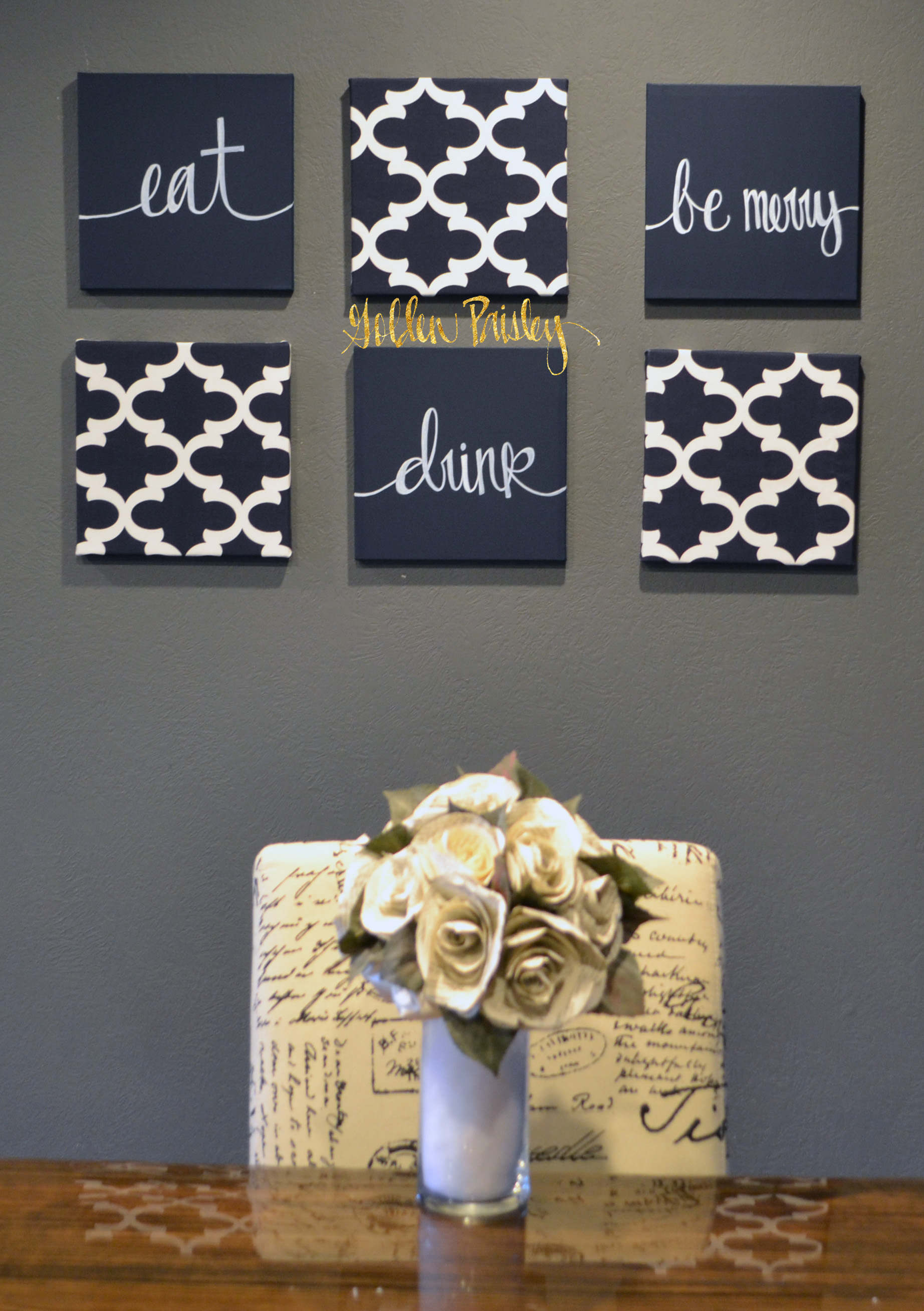 navy blue wall art set