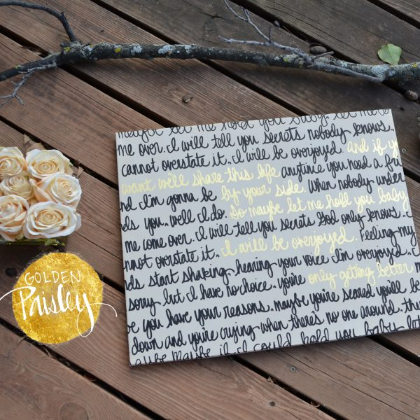 black gold wedding decor sign