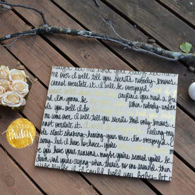 cream black gold wedding vow art