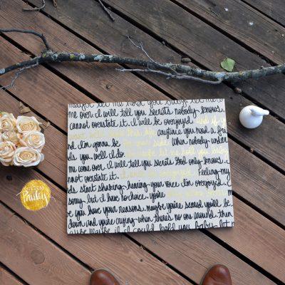 wedding vows on canvas black gold