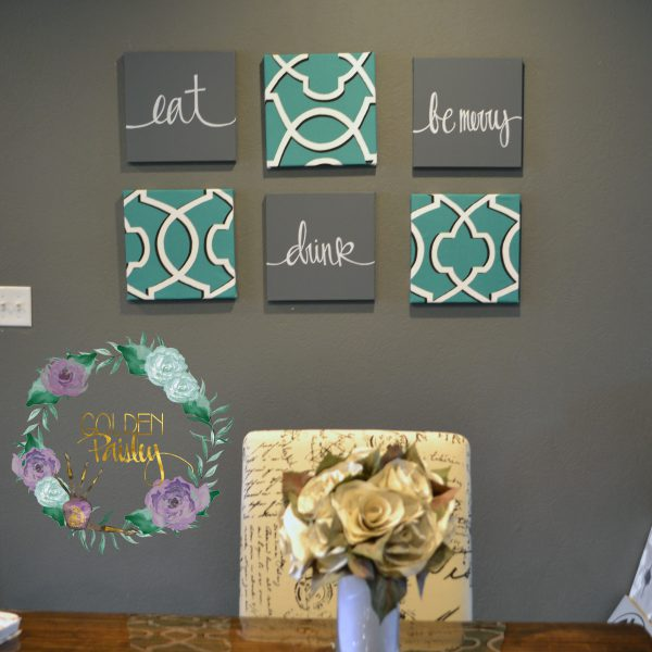 teal gray home decor set