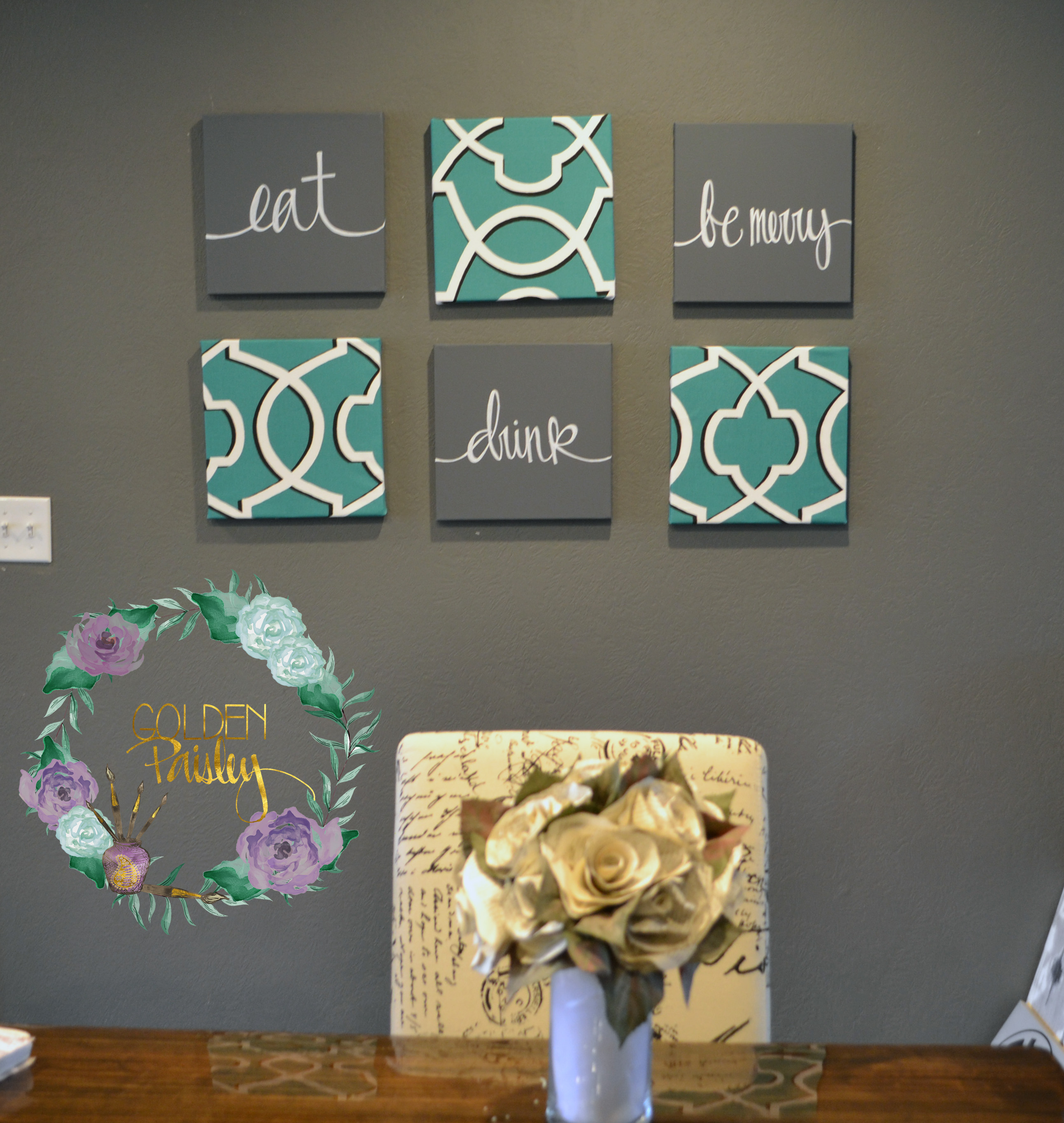 Teal charcoal gray 6 piece wall art set for Teal decorations for the home