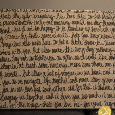 burlap wedding vow art decoration