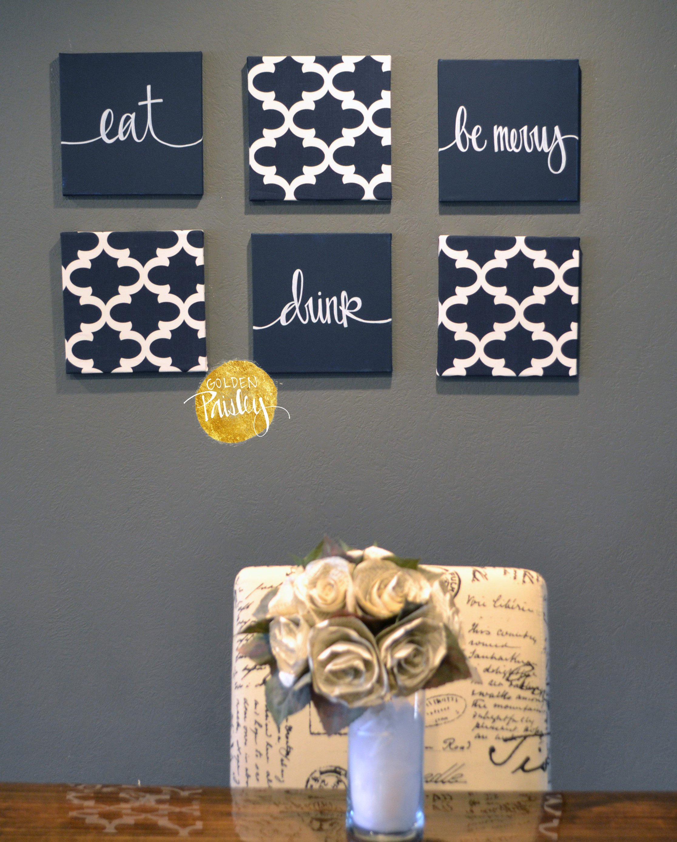 Charmant Eat Drink Be Merry Wall Art Set