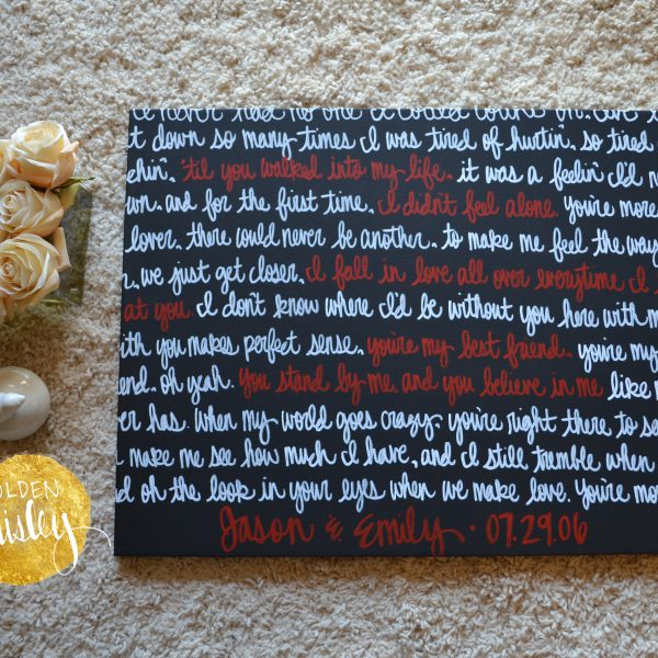 black white red wedding vow art