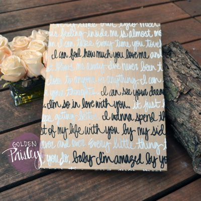 gold wedding vows on canvas